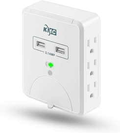 Wall Surge Protector - 6 Outlet with 2 USB & Slide-Out Smartphone Holder