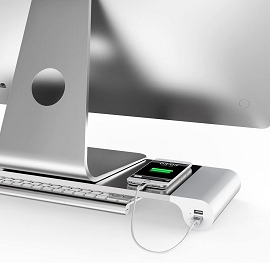 Aluminum Monitor Stand Space Bar with USB Ports & Keyboard Storage