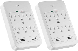6-Outlet Surge Protector with 2 USB Ports 3.4A, 980 Joule, White (2 Pack)