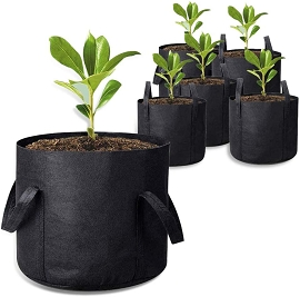 5-Pack 15 Gallon Grow Bags with Handles