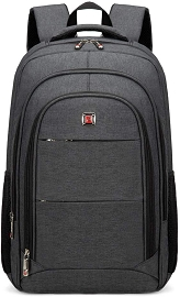 Slim Laptop Backpack - Fits 15.6 inch Laptop (Black / Grey)