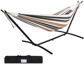 9' Double Hammock with Space Saving Steel Hammock Stand