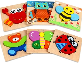 Wooden Jigsaw Puzzles - 6 Pack