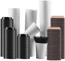 110 Sets of 12 oz Disposable Coffee Cups with Travel Lids Sleeves and Straws