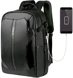 PU Leather Laptop Backpack with USB Charging Port - Black & Grey