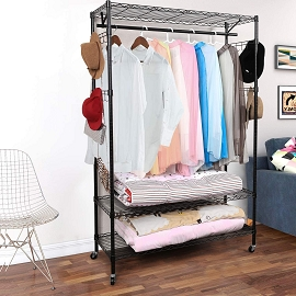 3-Tier Large Size Wire Shelving Unit Garment Rack with Hanger Bar