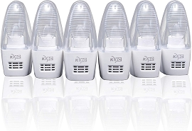 6-Pack Plug-in Night Light, Smart Dusk-to-Dawn Sensor, 0.3W Warm White 2700K