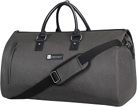 Travel Garment Bags with Shoes Pouch - Perfect Suit Bag (Black & Light Gray)