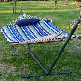 15 FT 4-pc Hammock, Pad, Pillow, & Metal Stand