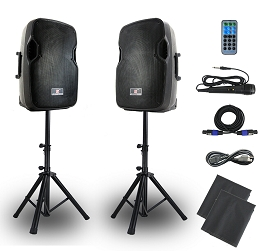 DJ Speakers System,12 Inch 2-Way Speakers with Stands (Set of 2)