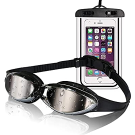 Swimming Goggles with Waterproof Phone Pouch w/ Case- Assorted Colors