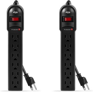 2-pack of 6-Outlet Surge Protector 600 Joule (Black)