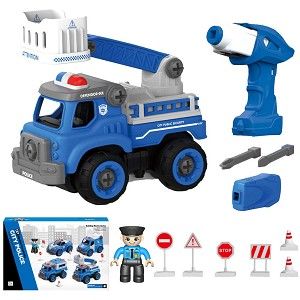 Take Apart Police Car Toy with Electric Drill - Retail Packaging